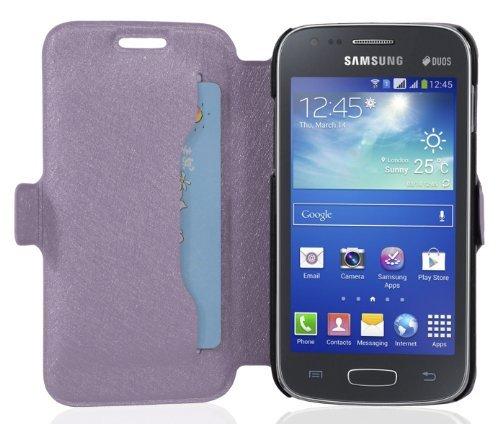 Cadorabo - Ultra Slim Book Style Hülle für Samsung Galaxy ACE 3 (GT-S7275) mit Kartenfach und Standfunktion - Etui Case Cover in ICY-FLIEDER