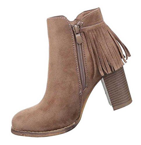 Damen Stiefel Schuhe Fransen Boots Schwarz Hellbraun