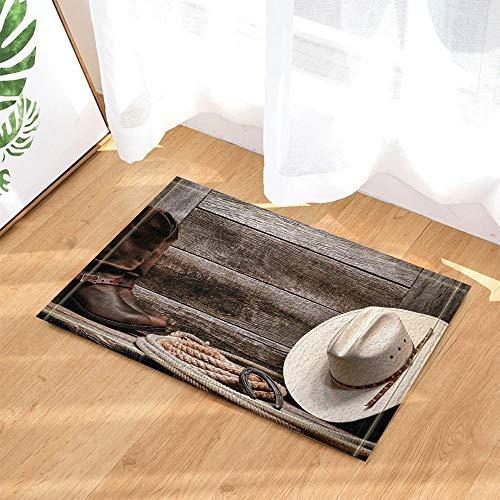 ZZ7379SL Western Decor Cowboyhut Stiefel und Seil gegen Retro Holzbrett Bad Teppiche 3D Digitaldruck 40x60CM Schlafzimmer Küche Kinder Badezimmer Matte Zubehör - Western-stiefel-zubehör