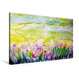 Premium Textil-Leinwand 90 cm x 60 cm quer, Frühlingswiese   Wandbild, Bild auf Keilrahmen, Fertigbild auf echter Leinw