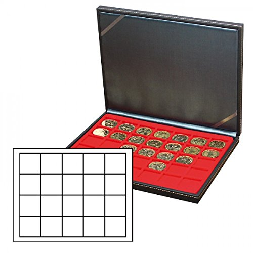 NERA Coin Case M [Lindner 2364] with red velour insert 2120 (20 × Ø 47 mm)