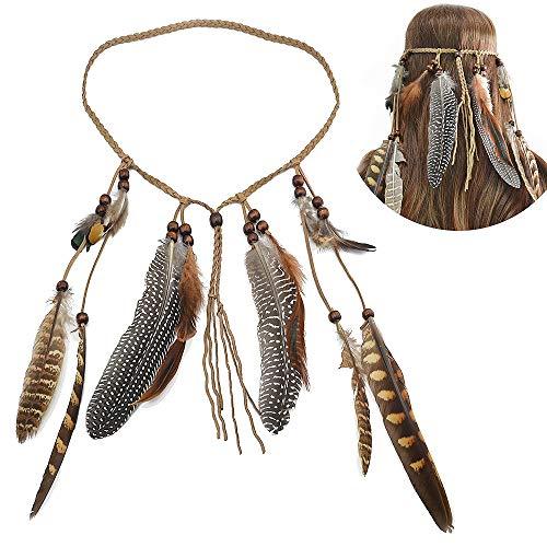 Indische Kostüm Kopfschmuck - Jurxy Böhmische Pfau Feder Kopfschmuck Stirnband Damen Hippie Boho Indianer Stirnbänder Zigeuner Headwear Weben Frau Mädchen Lieblings Haarschmuck - Braun
