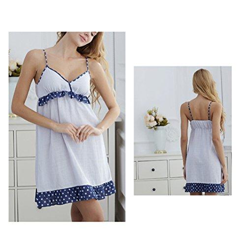 Zhuhaitf Alta qualità Summer Womens Fashion Wave Point Sling Cotton Sleep Skirt Pajamas Pale Blue