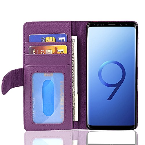 Cadorabo Hülle für Samsung Galaxy S9 - Hülle in Bordeaux LILA – Handyhülle mit 3 Kartenfächern - Case Cover Schutzhülle Etui Tasche Book Klapp Style