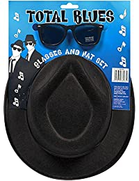 New blues Brothers cappello e occhiali da sole Shades Fancy Dress set Stag  costume gangster 46adc026274f
