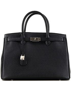 Rouven / Icone 35 Tote Box Bag / Black Schwarz Noir / Silver / Damen Leder Handtasche Shopper Tasche / edel modern...