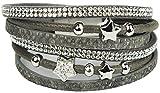 Mevina Damen Strass Armband Wickelarmband Glitzer Stern Magnetverschluss Shamballa Sternarmband Anthrazit A1223