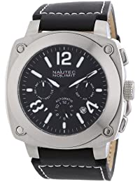 Nautec No Limit Herren-Armbanduhr XL Grizzly Analog Automatik Leder GZ AT/LTSTSTBK