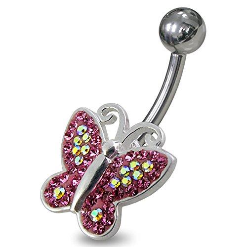 Bijou de nombril papillon pierres fantaisies multi cristal en Argent Sterling 925 avec Banane 14Gx3/8(1.6x10MM)en acier chirurgical 316L et Boule 5MM. Pink