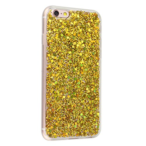 Custodia Per iPhone 6/6S, Asnlove Soft Silicone Cover Brillante TPU Caso Bling Paillette Cassa Antiurto Case Bumper Per iPhone 6/6S - Rosa Oro