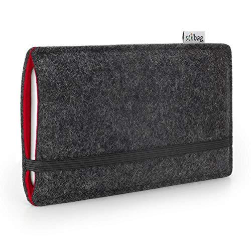 Stilbag Handyhülle Finn für Apple iPhone 8 | Farbe: anthrazit/rot | Smartphone-Tasche aus Filz | Handy Schutzhülle | Handytasche Made in Germany