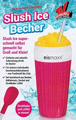 SLUSH ICE BECHER mit Strohalm-Löffel Deckel 300ml Frozen Eis Freeze Eiscrusher 4 Farben 97 (Pink)