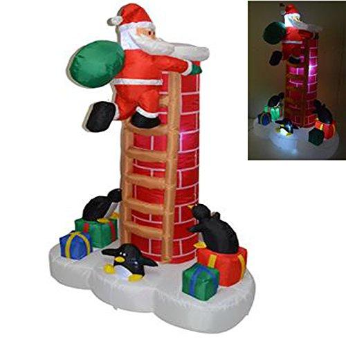 Babbo natale con scala su camino con luce gonfiabile 180 cm corrente regali neve