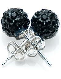 Boucles D'oreilles Clous Style Shamballa Cristal 1cm - Noir