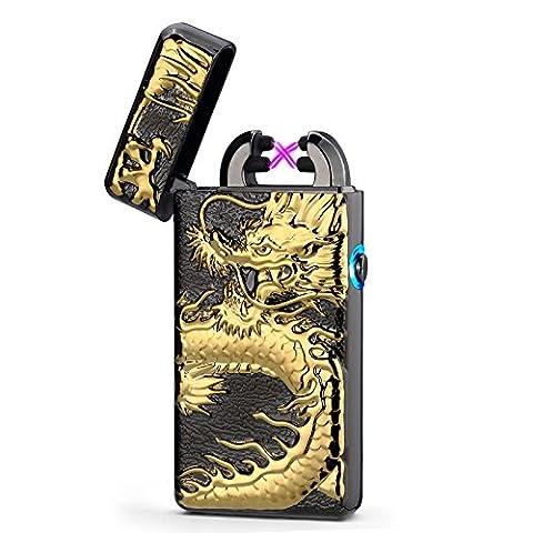 USB Elektronisches Drache Feuerzeug Lichtbogen Zigarettenanzünder Flammenlose Windgeschützter Aufladbar (Schwarz)