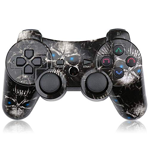 Controller PS3 Wireless, Gamepad Dualshock PS3 Bluetooth Joystick per PlayStation 3 Accessori di gioco con cavo USB Caricabatterie Cavo remoto (Blue Skull)
