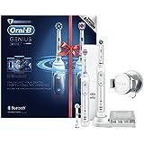 Oral-B Genius 8900N CrossAction - Cepillo de dientes eléctrico recargable con tecnología de Braun, 2 mangos blancos, 5 modos, 3 cabezales de recambio y 1 estuche de viaje Premium