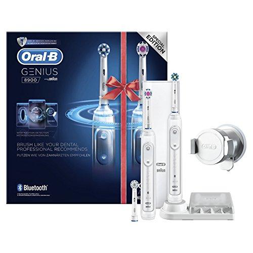 Oral-B Genius 8900 Elektrische Zahnbürste (Oral-Bs beste elektrische Zahnbürste mit 2. Handstück, Positionserkennung, Litium-Akku, Bluetooth, Timer, Reiseetui, CrossAction, 3DWhite, powered by Braun)