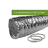 EASYTEC® Abluftschlauch Ø 150 mm/Ø 125 mm verschiedene Längen mit Schlauchschellen/Spiralschlauch/Aluschlauch/Schlauch/152 mm/127 mm (Ø 125 mm/Länge 1 Meter mit 2 Schellen)