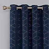 Deconovo Lot de 2 Rideaux Occultants Bleu Marine Isolant Thermique Rideaux a Oeillets Motif de Lossange Imprimés Argents pour Enfant Rideaux Chambre 117x183cm