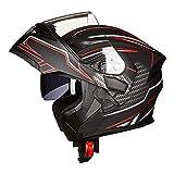 SXC Cascos Moto Doble Lente Modular Racing Casco clásico Hombres Flip Up Cascos de Motocross Anti...