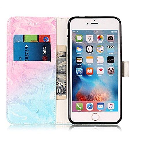 Vandot iPhone 6 Pouces Coque 2 en 1 Housse Motif de Marbre Etui pour iPhone 6S PU Cuir Coque à Rabat Fonction Portefeuille de Carte Slots Support Bouton Magnétique Case Créatif Marble Pattern Housse C Marbre-03