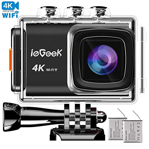 "Action Cam 20MP 4K WiFi Sports Kamera Full HD 170 ° Weitwinke EIS Anti Shake 2"" LCD Helmkamera 98FT wasserdichte Unterwasser actioncam mit 2 1200mAh Batterien und Verschiedene Montagezubehör Kit"