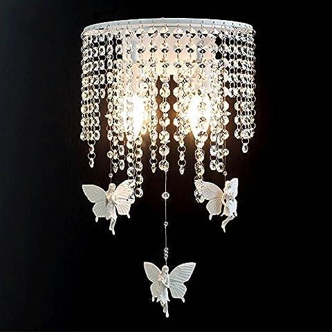 PHPWL Crystal Bedside Lampe Wandleuchte Schlafzimmer Wohnzimmer Princess Room Mädchen