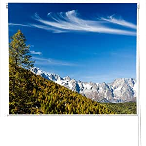RB48 - Mont Blanc landscape photo roller blind. All Art Fever® photo roller blinds come with a child safety device.