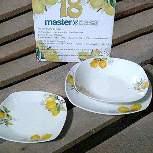 lig für 6Personen Keramik Dekor künstlerisch gelb Zitrone Master Haus ()