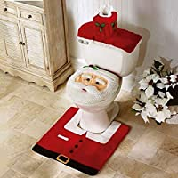 SmashingDealsDirect Christmas Decoration Novelty 3pc Christmas Festive Toilet Seat Cover, Tank & Rug Bathroom Decoration Set (Santa Claus)