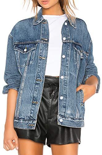 19ae7181e1dd Damen Jeansjacke Oversize Übergangsjacke Leichte Jacke Denim Casual,S,Medium  Blue Denim