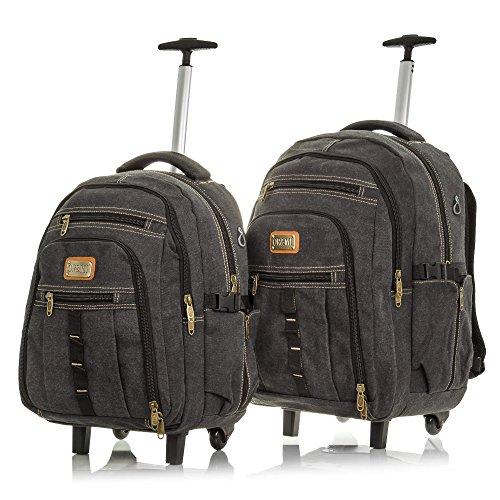 OR&MI. Set di 2 zaini valigia in tela premium.Valigia viaggio multifunzionale.Convertibile zaino.imbottito interiore. Zaino trolley viaggio casual unisex.Made in CHINA.38x51x25 cm. Colore:GRIGIO SCURO