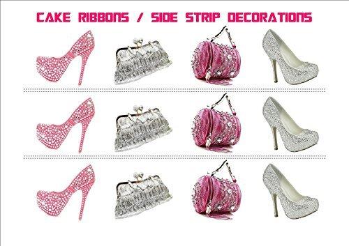 Neuheit Bling-Diamante Geburtstag Handtasche Schuhe Mix EßBARER ZUCKERGUSS KUCHEN SCHLEIFEN Seite Streifen Kuchen Topper Deko (Bling Schuhe Hochzeit)