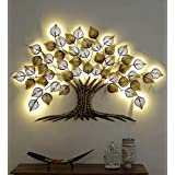 Anantwoodcraft™ Gold Metal Decorative Tree with Led Wall Art