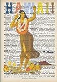 Hawaiian Hula Dancer Vintage Dictionary Artwork Notebook: 7 x 10 inch Vintage Travel Poster Inspired Notebook/Journal