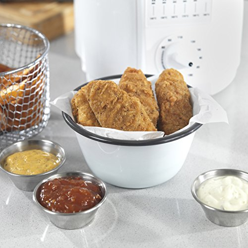 51LCYVgonSL. SS500  - Elgento Compact Deep Fat Fryer with Cool Touch Exterior, Adjustable Thermostat, Internal Filter, Plastic, 900 W, 1 Litre, White