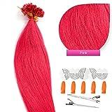 Keratin Bonding Hair Extensions 100% Echthaar Haarverlängerung (#Pink – 50 Strähnen 0,5g – 60cm) U-Tip Nail Extension Remy Qualität Keratinbondings Gratis Zubehör by GlamXtensions