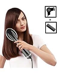 Yunshangauto Brosse à Lisser les Cheveux Électrique / Brosse Lissante Cheveux / Brosse à Air Chaud en Fer Brosse Sèche-cheveux avec Fonction de Séche et Lisse Noir