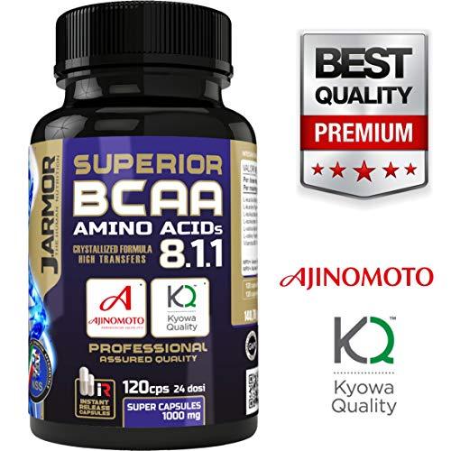 J.armor integratori superior bcaa 8 1 1 | aminoacidi ramificati + vitamina b6 | formula 8 1 1 | amino kyowa ajinomoto 120 capsule rapido rilascio qualità professionale maxi capsule da 1000mg vegan
