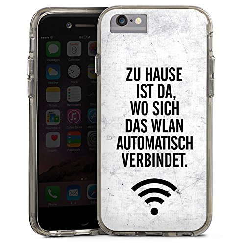 Apple iPhone 6 Plus Bumper Hülle Bumper Case Glitzer Hülle Wlan Home Zuhause Bumper Case transparent grau