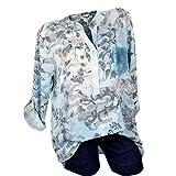 UFACE Damen Frauen Print Langarm Top Plus Größe V-Ausschnitt Blumendruck Langarm Bluse Pullover Tops Shirt(Blau,EU/54CN/5XL)