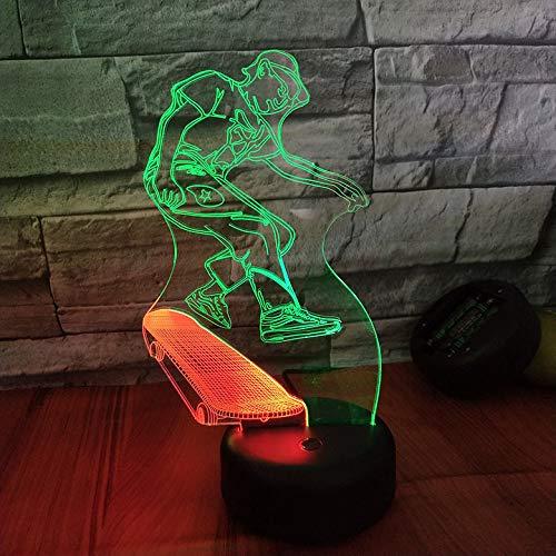LYHY Skateboard 3D Vision Nacht-Lampe kreativ bunte Berührung laden LED-Stereo-Lampe Geschenk Lampe
