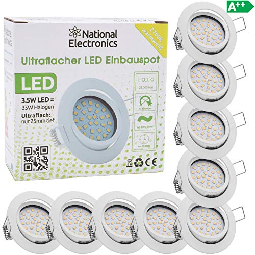 National Electronics Slim Line Einbaustrahler in weiß mit nur 25mm Einbautiefe! 9er Set Deckenspot mit integriertem 3.5W 320 Lumen LED Leuchtmittel AC 230V 120° Einbauspot ww