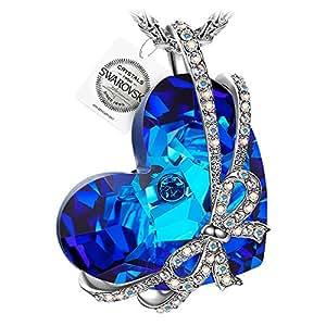 PAULINE & MORGEN Cadeau amour Collier avec Pendentif Femme cristaux de Swarovski bleu coeur cadeau anniversaire Noel saint valentin fete des meres maman cadeaux de mariage