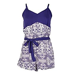 Octave® Ladies 100% Viscose Tile Print Short Strappy Playsuit/Jumpsuit [Size 12-14, Colour Navy with White Print]