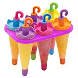 HOME CUBE® Ice Pop Candy Lolly Popsicle Kulfi Maker Mould Set Of 6 Pcs,Ice Lolly Moulds,6 Pcs Umbrella Shape Ice Cream Candy Kulfi Maker Popsicle Mould set (Multicolor)