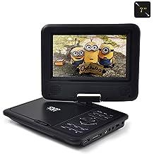 Nero Lettore DVD portatile auto 7 pollici 270 gradi schermo girevole,270 ° schermo girevole,con 3 ore Batteria ricaricabile