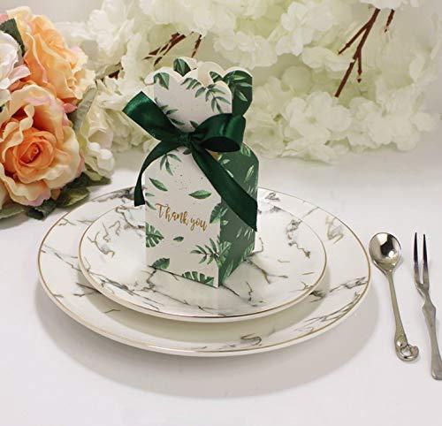 FLOWOW 50pcs Stile Vaso Foglia Verde Scatola portaconfetti scatolina portariso bomboniera segnaposto per Matrimonio Compleanno Battesimo Comunione Nascita Natale