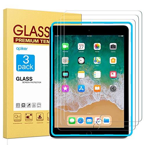 apiker Lot de 3 Verre Trempé Compatible pour iPad 9,7 Pouces (modèle 2018 et 2017 6ème/5ème Génération), iPad Air 2 et iPad Air, Protection écran pour iPad 9,7 Pouces, iPad Air 2 et iPad Air